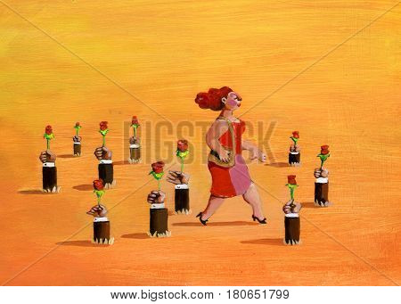 a plump and pretty woman walks at sunset and through soil sprout hands holding roses