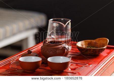 Set Of Teapot, Chahe With Tea And Two Bowls