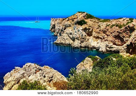 Rocky coast of the Mediterranean Sea in the vicinity of the beach of Kaputash. Turkey.