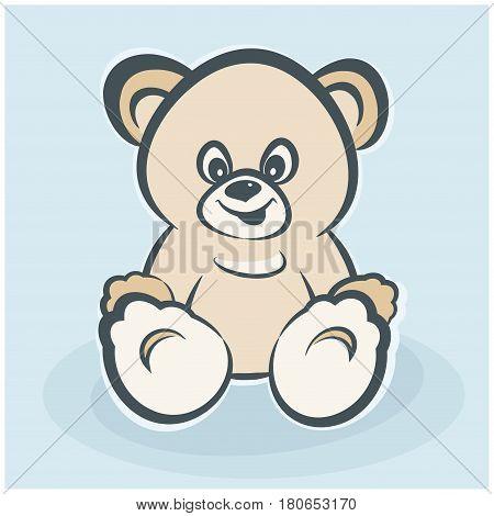 Teddy bear toy smiling bear toy for happiness childhood vector illustration