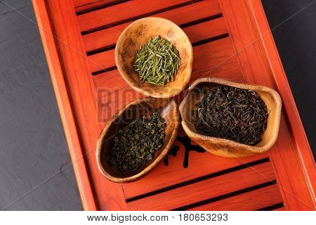 Set Of Three Kinds Of Tea In Chahe