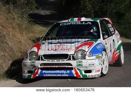 San Sebastiano Curone Italy - July 07, 2010 - Rally Del Giarolo: The Toyota Corolla WRC of the racing team