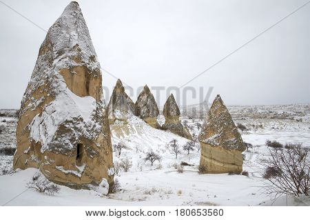 Winter day in the area surrounding Goreme. Cappadocia