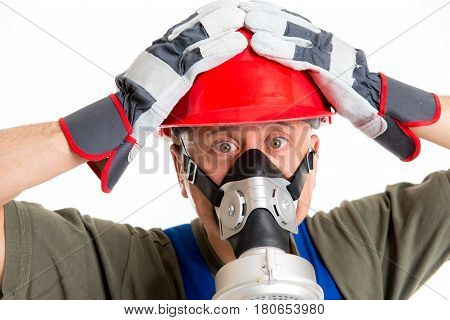 Workman With Red Hard Top And Protecting Mask