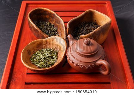 Set Of Teapot And Three Kinds Of Tea In Chahe