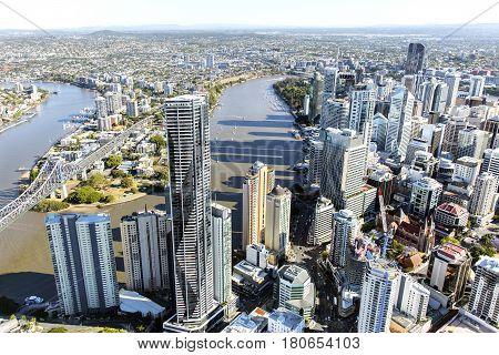 BRISBANE, AUSTRALIA - OCTOBER 18 2016: Aerial view of Brisbane riverside looking towards Kangaroo Point
