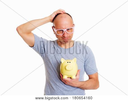 Man In Gray Shirt With Pink Glasses And Piggybank