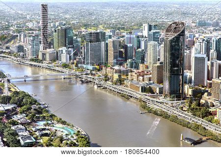 BRISBANE, AUSTRALIA - OCTOBER 18 2016: Aerial view of Brisbane looking over Southbank towards the CBD