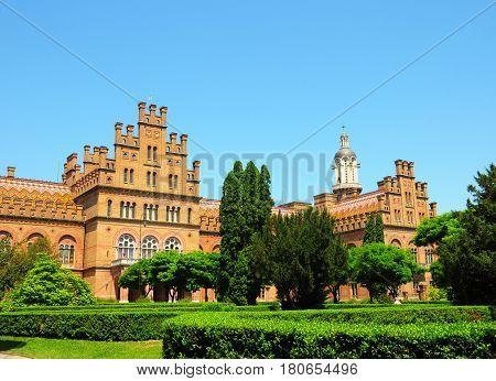 CHERNIVTSI UKRAINE - ARPIL 18 2017: Residence of Bukovinian and Dalmatian Metropolitans now part of Chernivtsi University. It was built in 1864-1882 by project of Czech architect Josef Hlavka