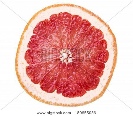highly detailed juicy red grapefruit slice isolated