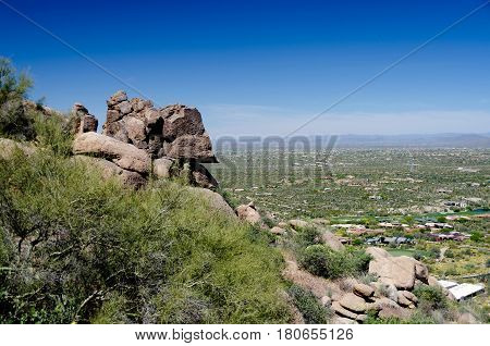 Granite Rocks On Pinnacle Peak Trail Over Happy Valley