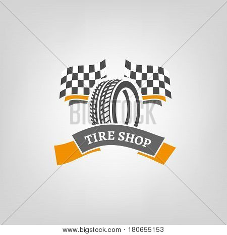 Car tire icon with finish flags in grey and orange colours useful for icon and logotype design on light background. Realistic graphic style. Digital pictogram collection. Beautiful vector illustration