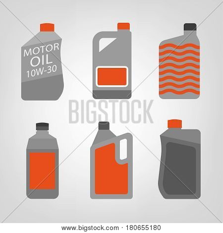 Synthetic oil icons set. Different motor oils symbols in flat style on a light background in grey and orange colours. Editable vector simple illustration of canisters with engine oil.