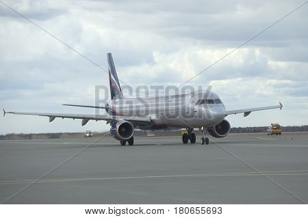 MOSCOW, RUSSIA - APRIL 15, 2015: The Airbus A320 Aeroflot taxiway