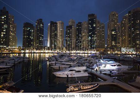 Panorama Of Dubai Marina In A Summer Night