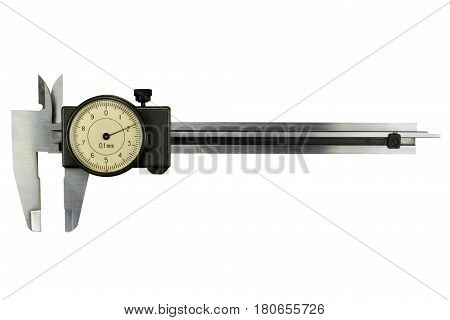 Slide caliper with round scale isolated on white background