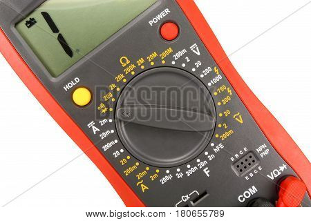 Digital multimeter closeup isolated on white background
