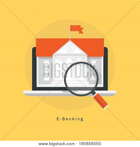 E-Banking, financial management flat vector illustration design. Internet banking transaction, online banking design for mobile and web graphics