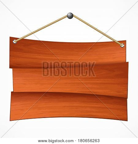 Wooden sign board hanging on rope on white empty plank for notice vector illustration