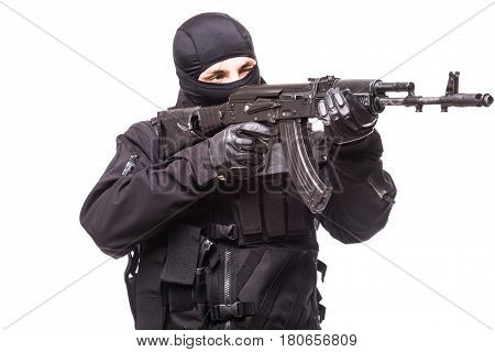 Armed Man With Gun On White Background