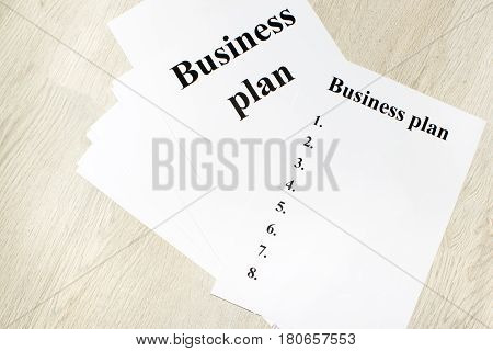 An inscription of the business plan, execution points