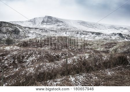 Beautiful Winter Landscape Image Around Mam Tor Countryside In Peak District England
