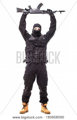 Army Soldier Man Weapon Over Head On Studio Isolated On White Background