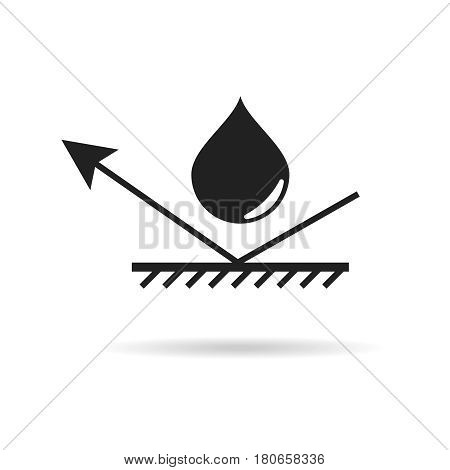 Waterproof material icon water protection symbol droplet and arrow