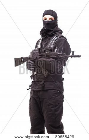 Soldier With Rifle On Isolated White Background