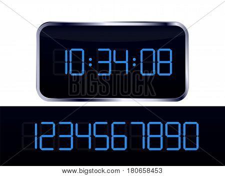 Blue digital clock vector and number set