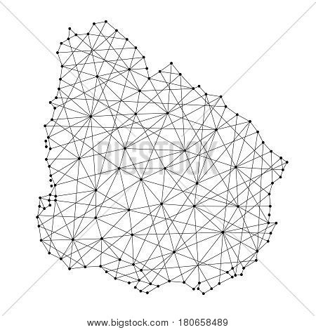 Map of Uruguay from polygonal black lines and dots of vector illustration