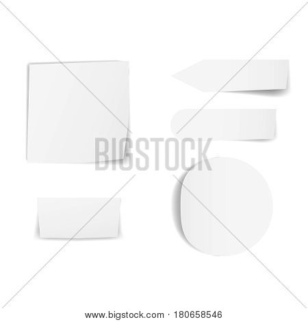 Blank sticky papers set Empty stickers with curved corners and shadows Realistic reminder papers collection