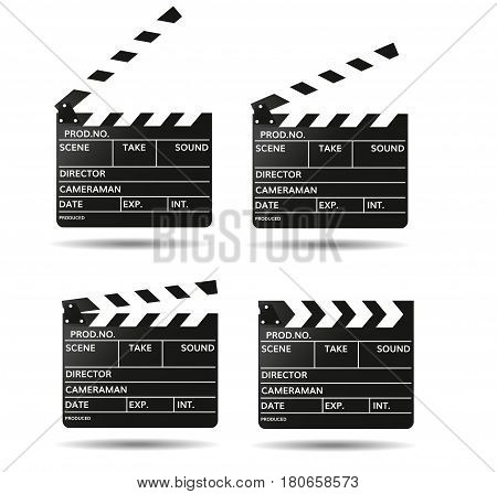 Movie clapper board Black open clapperboard Realistic film clapper