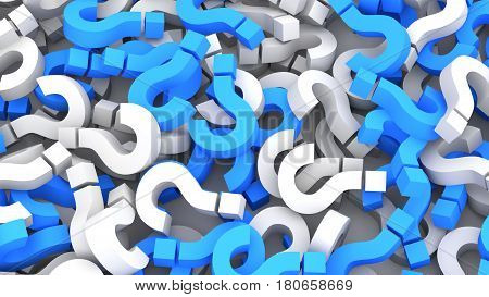 Infinite blue and white question marks background. 3D Rendering.