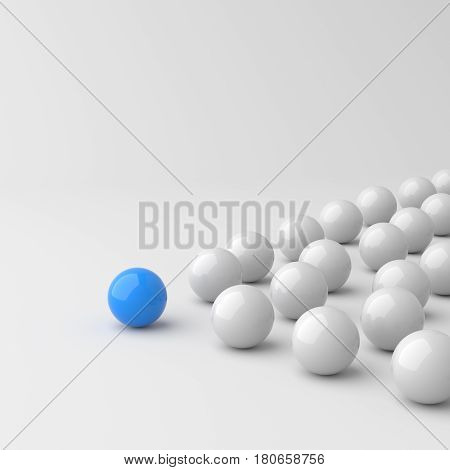 Leadership concept blue leader ball standing out from the crowd of white balls on white background. 3D rendering.