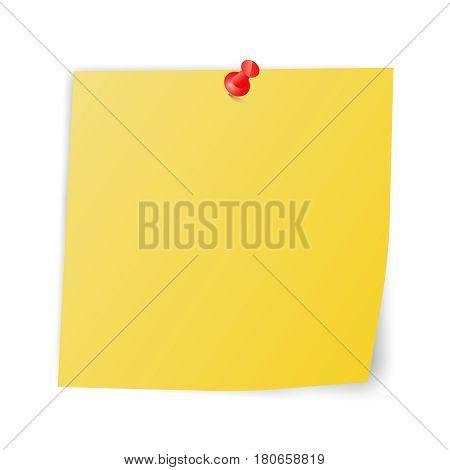 yellow sticky paper with red pin square reminder note with curved corner