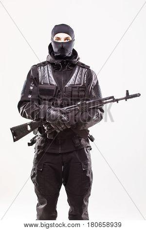 Terrorist With Ak47 Machine Gun Isolated