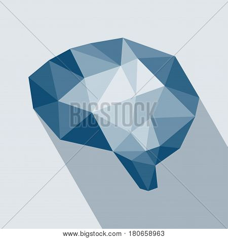 Human brain polygonal geometric concept. Blue brain polygon business concept. Abstract of brain graphic using polygon and geometry shape with long shadow.