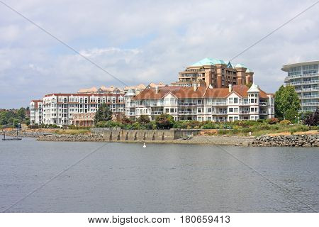 Buildings by Victoria harbour in Vancouver Island