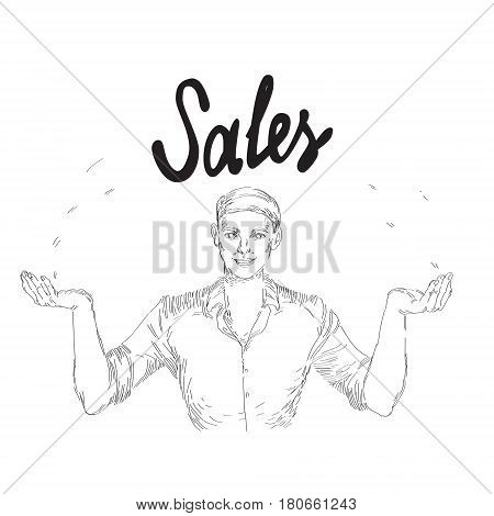 Vector eps illustration with office man raising and spresding hands showing sales word calligraphy hand lettering in retro vintage style