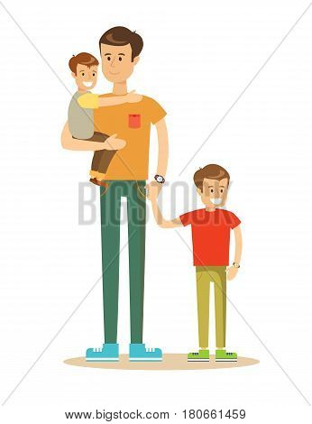 Happy father and sons having quality family time on summer holidays. Lifestyle, vacation, happiness, joy concept. Cartoon character illustration Isolated on white background.