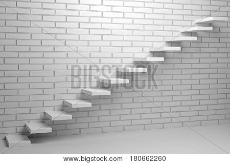 Business rise forward achievement progress way success and hope creative concept - Ascending stairs of rising staircase in empty room with white bricks wall with light 3d illustration