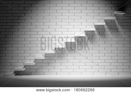 Business rise forward achievement progress way success and hope creative concept - Ascending stairs of rising staircase in dark empty room with white brick wall with spot light 3d illustration