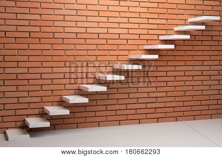 Business rise forward achievement progress way success and hope creative concept - Ascending stairs of rising staircase in empty room with red bricks wall 3d illustration.