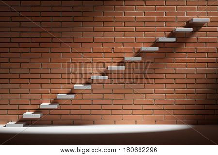 progress, success and hope creative concept - Ascending stairs of rising staircase in dark empty room with red brick wall with light 3d illustration
