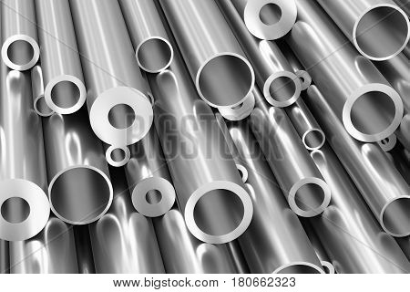 Metallurgical industry production and industrial products abstract illustration - many different various sized stainless metal shiny steel pipes closeup industrial background 3D illustration