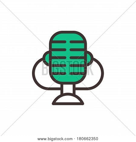Microphone vector icon isolated interview music TV web broadcasting vocal tool show and outline voice radio broadcast audio live record studio sound media vector illustration.