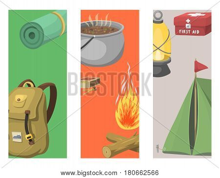 Hiking cards camping equipment base camp gear and accessories hike outdoor elements cartoon journey vacation travel vector illustration. Trekking outing summertime leisure recreation.