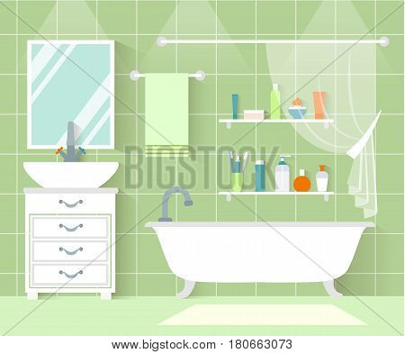 Vector bathroom front view. Interior design in flat style. Bathroom with plumbing furniture and accessories.