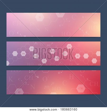 Scientific set of vector banners. Hexagonal chemistry pattern. Medical, science, technology, chemistry background for your design